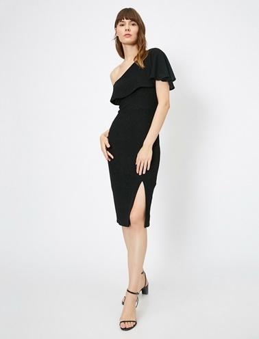 Koton Omuz Detaylı Elbise Siyah